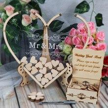 Livre d'or de mariage Transparent en forme de cœur, boîte de dépôt de cœurs rustique, livre d'or 3D en bois