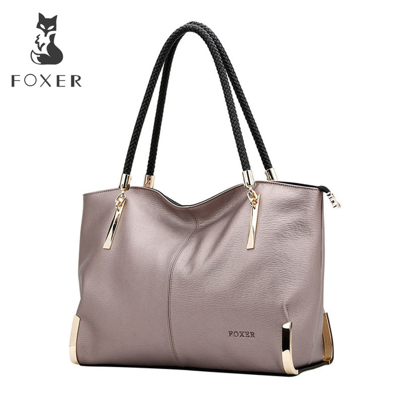 FOXER Brand Women's Cow Leather Handbags Female Shoulder bag designer Luxury Lady Tote Large Capacity Zipper Handbag for Women-in Top-Handle Bags from Luggage & Bags    1