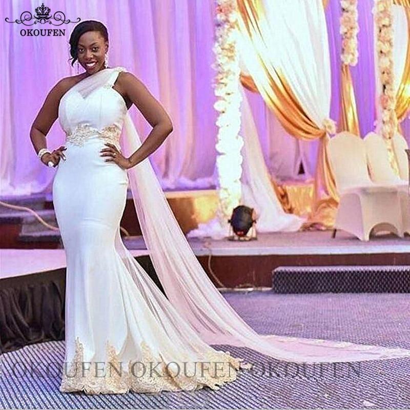 Real Photos White Mermaid Bridesmaid Dresses Streamer Appliques 2020 One Shoulder Vestidos Women Long Prom Wedding Party Dress