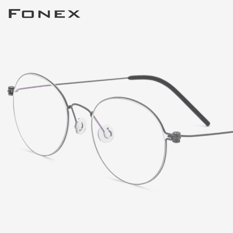 B Titanium Eyeglasses Frame Women Ultralight Prescription Eye Glasses Men New Korean Myopia Optical Frame Screwless Eyewear 7510
