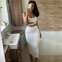 2 Layers Long Skirts Two Piece Set Summer Tops Skirt Women Outfits Sleeveless 2 Piece Skirt Set 2020 New Sexy Sets Ladies Wear(China)