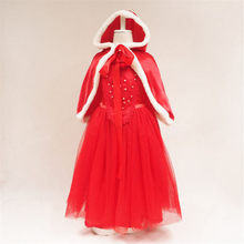 Toddler Kids Baby Girls Christmas Clothes Costume Party Dresses+Shawl Outfit Cotton Blended Red Dress set Elsa Cosplay Costume(China)