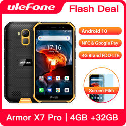 Перейти на Алиэкспресс и купить ulefone armor x7 pro rugged smartphone 4gb ram android 10 cell phone ip68 quad-core nfc 4g mobile phone waterproof