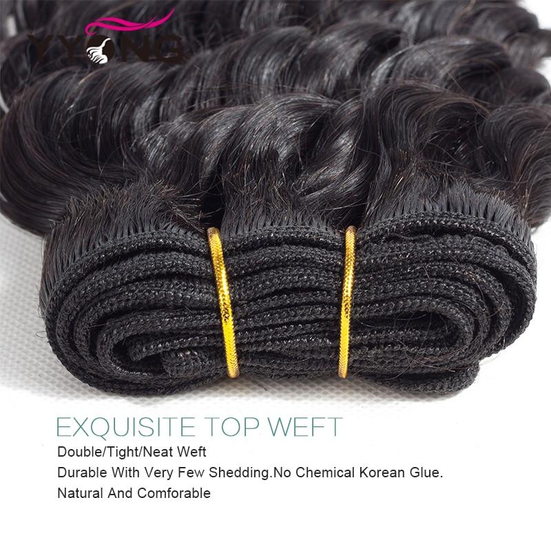 Yyong Hair Deep Wave 3 Bundles With Lace Closure  Bundles Medium Ratio   With Closure 4x4 inch 4
