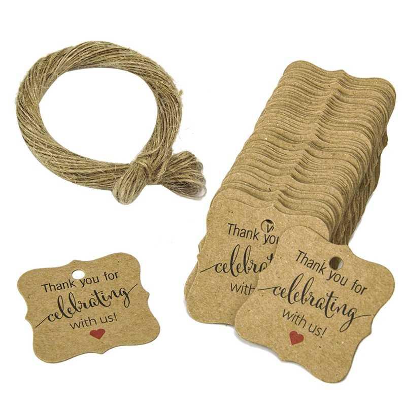 100 шт спасибо за празднование с нами бирки Крафт Бумажная подарочная упаковка бирки с натуральный джутовый шпагат детская игрушка в ванную, Рождество, свадьбы