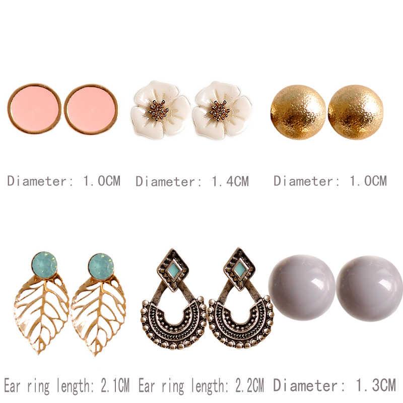 New fashion women jewelry girl birthday party beautiful white/purple/black mix 6 pairs/set earrings Christmas gift free shipping