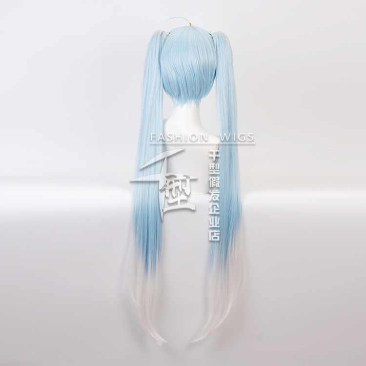 Vocaloid Hatsune Sneeuw Miku Cosplay Pruik Gradiënt Blauw 120 Cm Lang Golvend Synthetisch Haar Met Chip Paardenstaarten + Pruik Cap