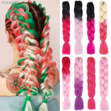 False-Hair Extensions Jumbo Braid Single Pink Synthetic Ombre-Color 24inch 100g AZQUEEN