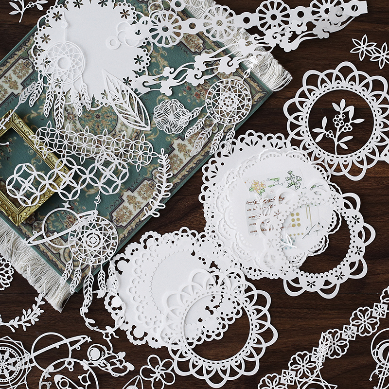 InLoveArts 10PCS Hollow Out Lace Paper Butterfly Flower-Window Lace Retro Decorative Sticker DIY Scrapbooking Label Diary Album