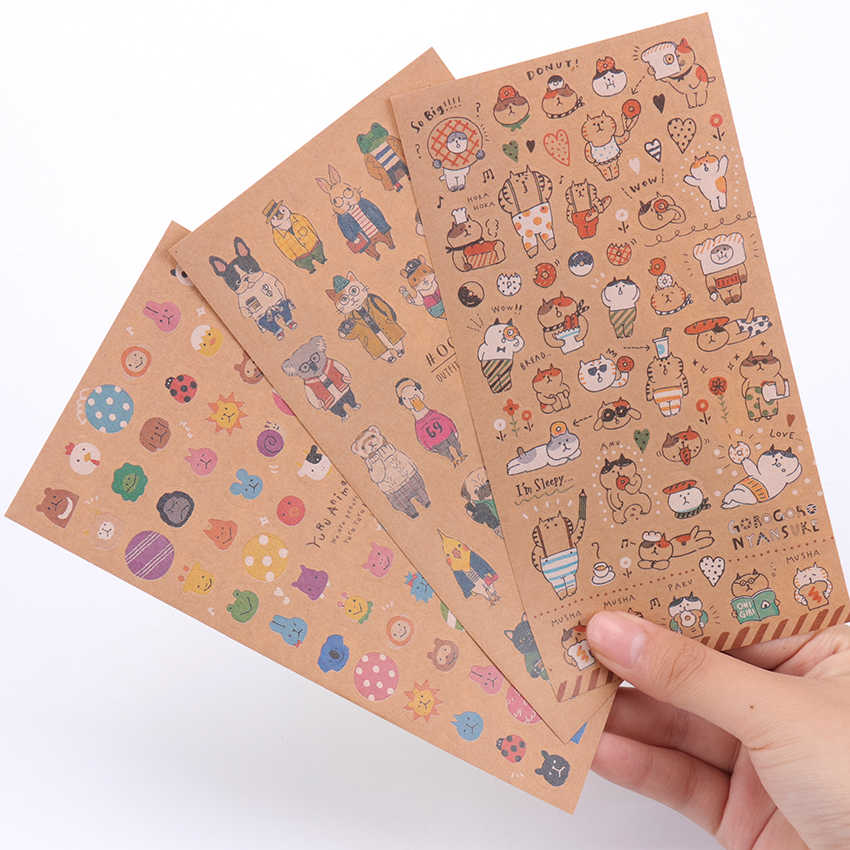 Leuke Kat Stickers Cartoon Dier Kraftpapier Sticky Papier Stickers voor Kids Gift DIY Scrapbooking Briefpapier