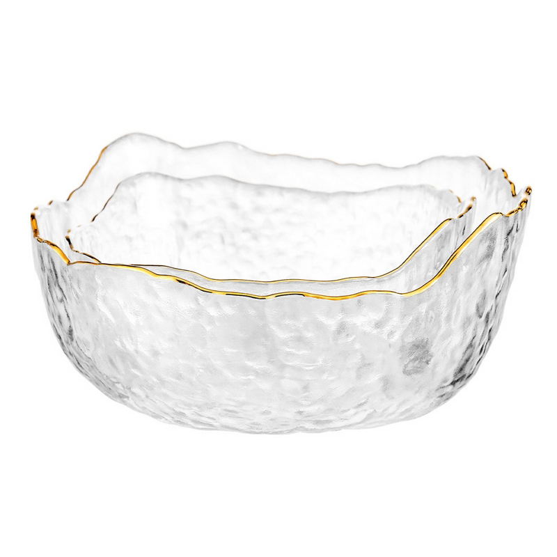 300 Ml Glass Salad Bowl Gold Rim Fruit Bowl Vegetable Container Irregular Glass Holloware Tableware Kitchen Accessiory Dishes Plates Aliexpress