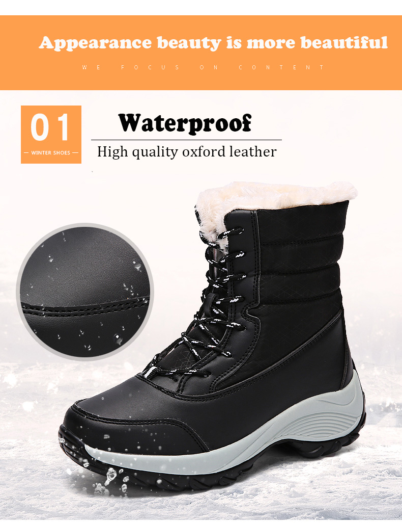 2019 Women Snow boots Waterproof Non-slip Parent-Child Winter Boots Thick Fur Platform Waterproof and Warm Shoes Plus Size 31-42 50