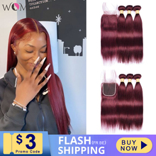 WOME Pre colored 99j Red Wine Burgundy Human Hair Bundles With 4x4 Lace Closure Malaysian Straight Hair Extension Non remy