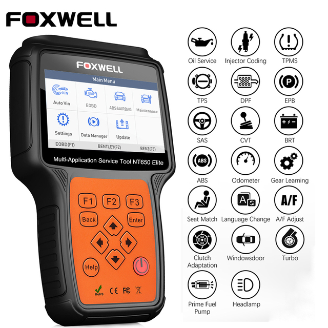 FOXWELL NT650 Elite OBD2 Diagnostic Tool ABS Airbag SAS EPB Oil DPF 25 Reset Functions Code Reader ODB2 OBDII Automotive Scanner