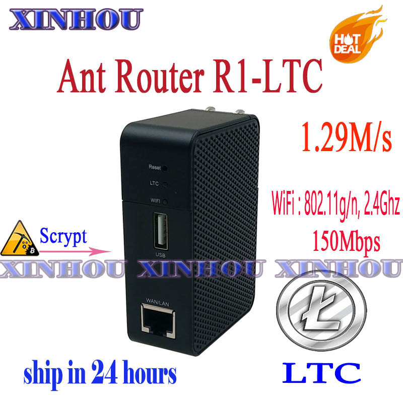 ANT MINER R1 LTC Miner 1.29M/s Scrypt Miner Litecoin Mining Machine And 2.4G Antminer Wireless Router,More Economical Than L3 A4