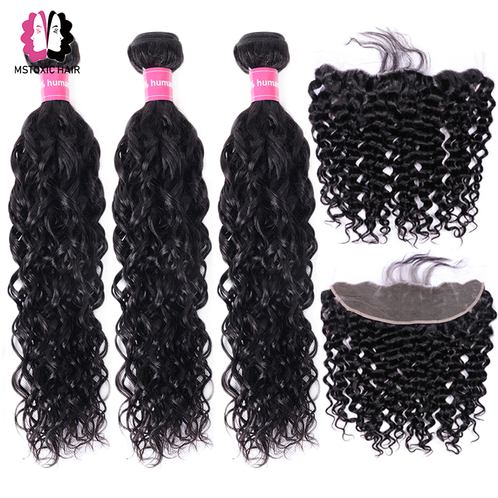 Brazilian Water Wave Bundles With Frontal Human Hair Bundles With Closure Remy Lace Frontal Closure With Innrech Market.com