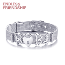 New Fashion Brand Charm Bracelet Silver Stainless Steel Mesh Bracelet Bangles with DIY Heart Beads Bracelets For Woman Gifts new design 2019 hot silver mesh keeper bracelet with heart anchor slide charms stainless steel brand bracelets for women
