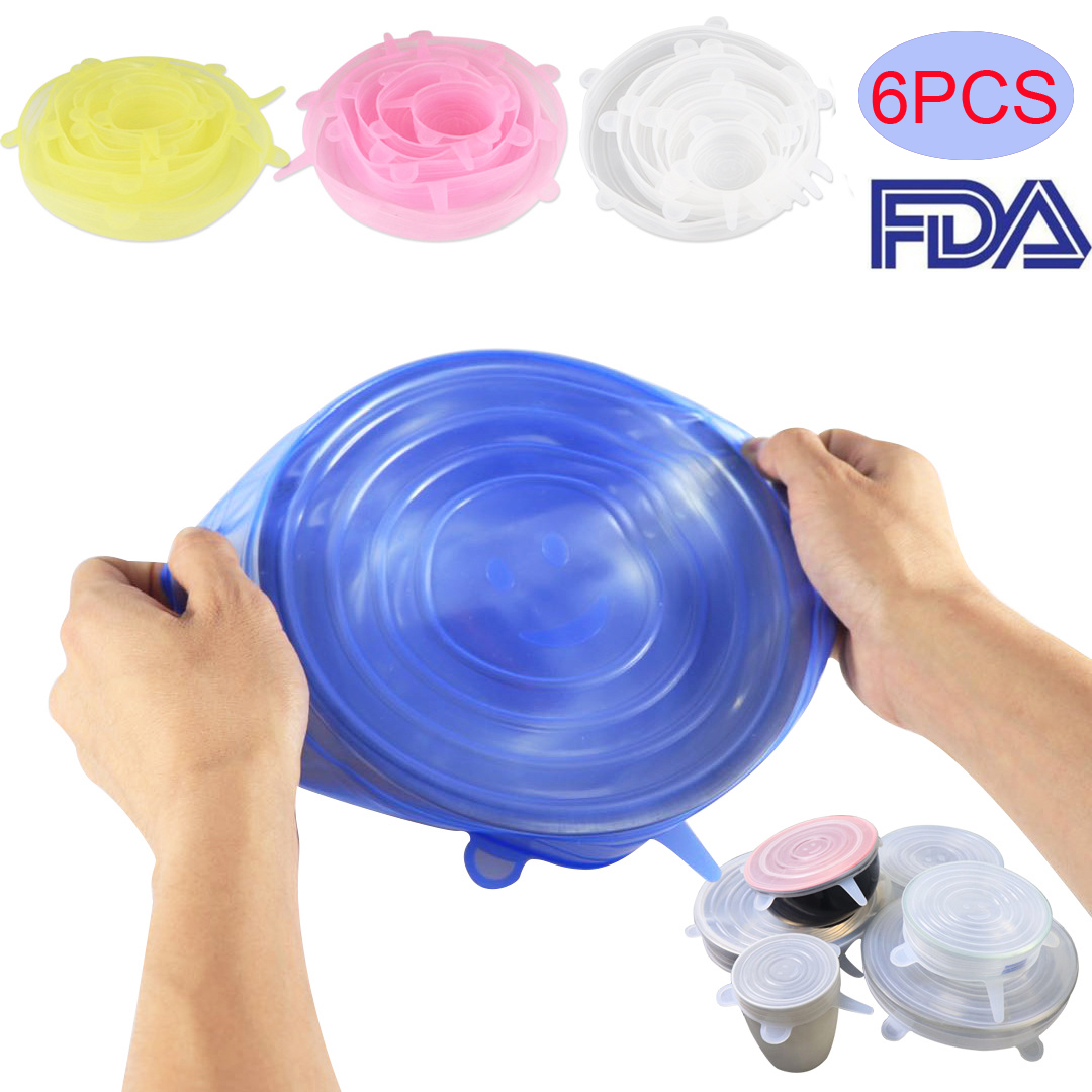 Cheapest Food Silicone Lids 6pcs/set Durable Reusable Food Save Cover Heat Resisting Fits All Sizes And Shapes Of Containers