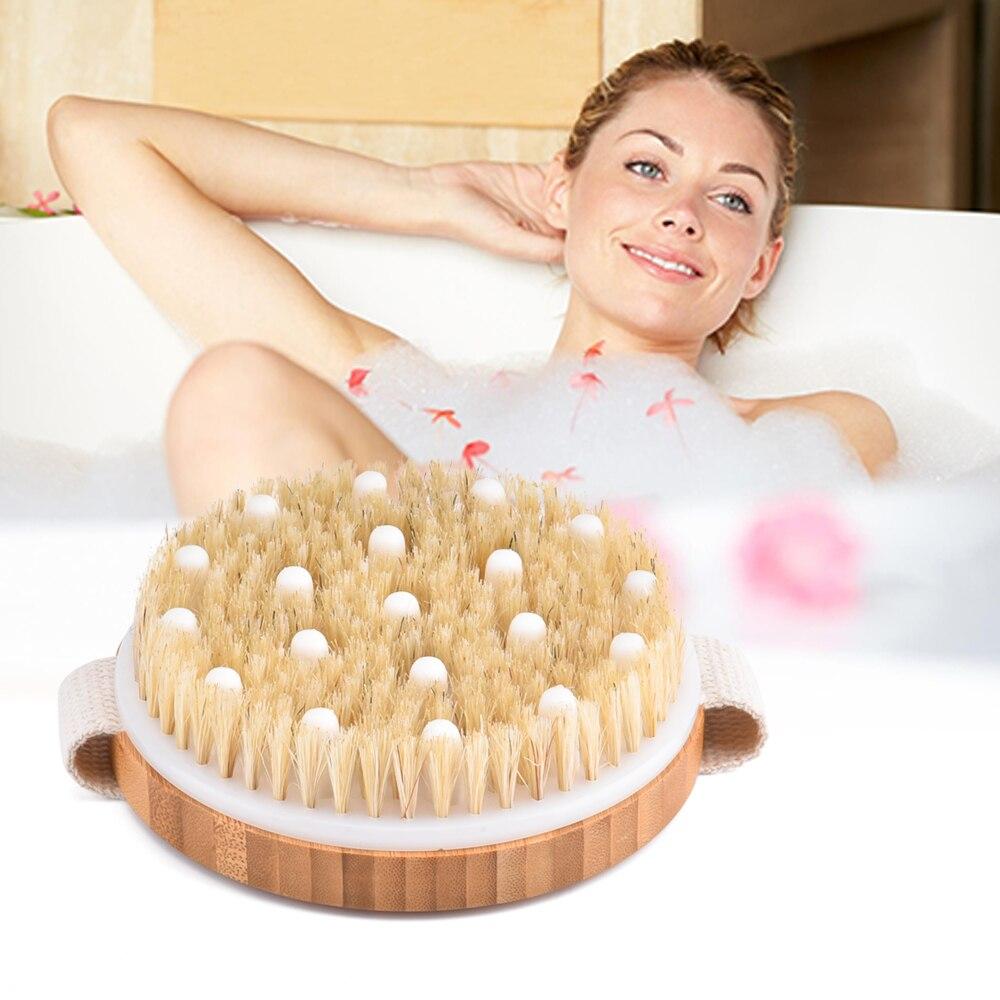Ручная натуральная щетина, щетка для ванны, Массажная щетка для тела, спа для тела, горячая сухая кожа, для тела, деревянная отшелушивающая