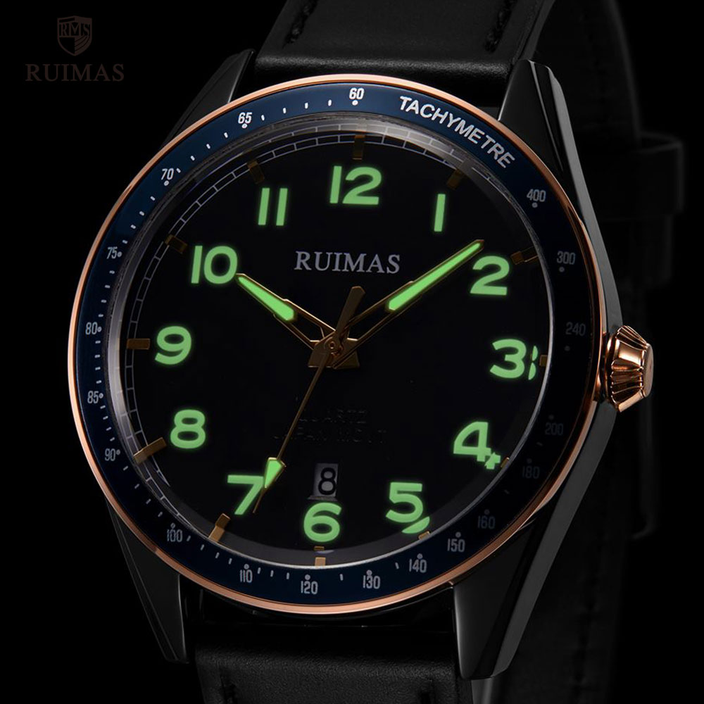 Image 5 - RUIMAS Fashion Mens Watches Luxury Leather Strap Quartz Watch Man Top Brand Military Sports Wristwatch Relogios Masculino 573Quartz Watches   -