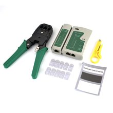 Network Ethernet LAN Kit 4 in 1 Cable Tester +Crimping Plier Crimper + Wire Stripper +10x Rj45 Cat5 Cat5e Connector Plug Netw
