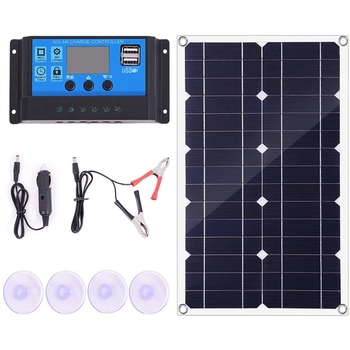 100W Solar Panel Kit 12V Battery Charger Controller for Caravan & Boat Dual USB 10A solar panel
