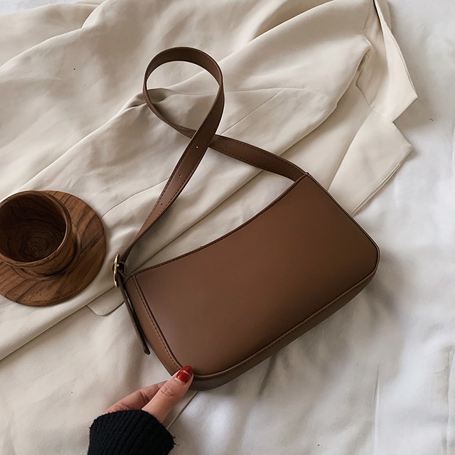 Cute Solid Color Small PU Leather Shoulder Bags For Women 2021 Summer Simple Handbags And Purses Female Travel Totes 2