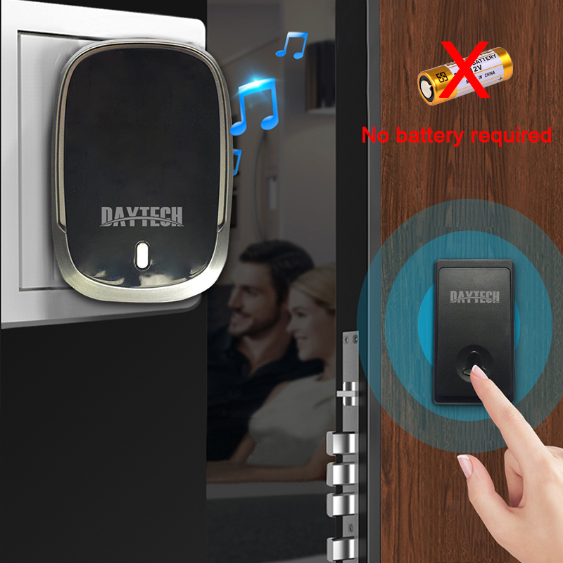DAYTECH Doorbell Chime Ring Bell Home Security Welcome Self-powered Wireless Doorbell Alarm Alert LED Light Touch Buttons