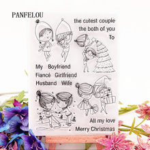 PANFELOU 10.5x15 Christmas couples Transparent Silicone Rubber Clear Stamps cartoon for Scrapbooking/DIY Christmas wedding album(China)