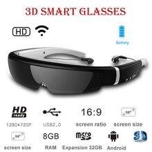 Óculos de vídeo 3d android inteligente montados na cabeça máquina tudo em um imax tela gigante cinema móvel de 98 polegadas memória 8g