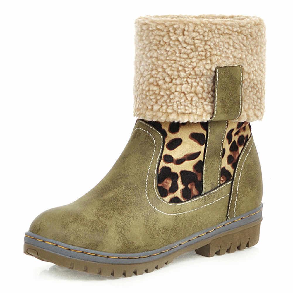 Botas de media pantorrilla de 2019 para mujer zapatos cómodos casuales añadir piel caliente Rusia zapatos de invierno mujer botas de nieve