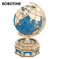 Robotime 3D Wooden Puzzle Game Oversize Globe Earth Ocean Map Ball Assembly Rotatable 3D Globe Model Toys Gift for Children Boys