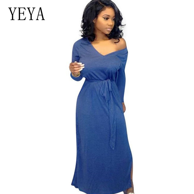 YEYA Fashion Autumn Dresses Womens Long Sleeve Hollow Out Lace-up Maxi Dress Elegant Casual Solid Loose Vestidos New Arrival