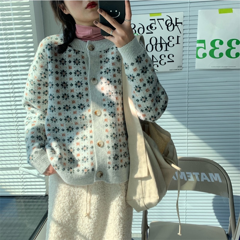 Alien Kitty Fresh Knitted Stylish All-Match Loose Basic Chic Floral 2020 Hot Vintage Cardigans Warm Gentle Soft Female Sweaters