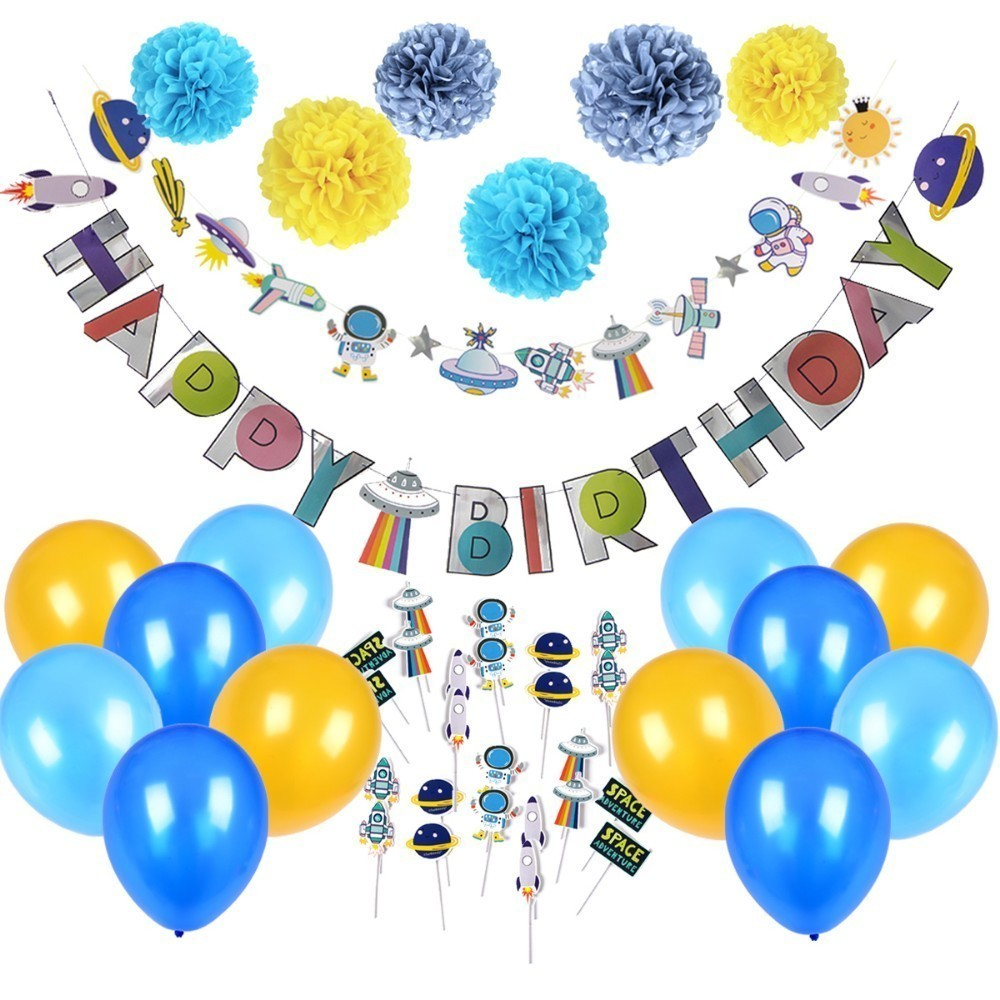 Space Theme Birthday Party Supplies Hanging Planet Astronaut Birthday Party Decoration Kids Photo Backdrop Boys Home