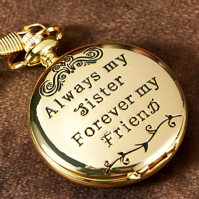 Fashion Gold Quartz Pocket Watch To My Sister Necklace Watches For Women Gift Forever Friend Fob Chain Clock Reloj De Bolsillo