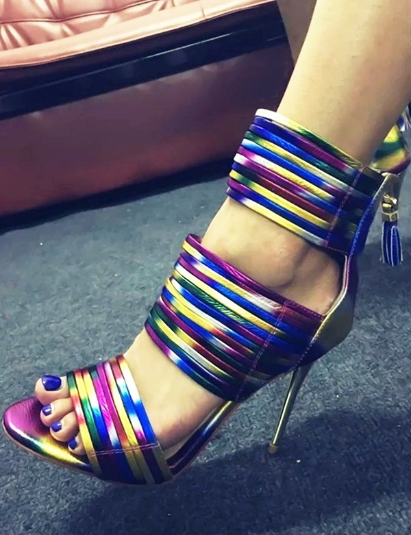 Trendy Colorful Sandals Women High Heel Open Toe Cut Out Thread Ladies Shoes High Vamp Zip Up Tassel Dress Party Runway Sandals - 6