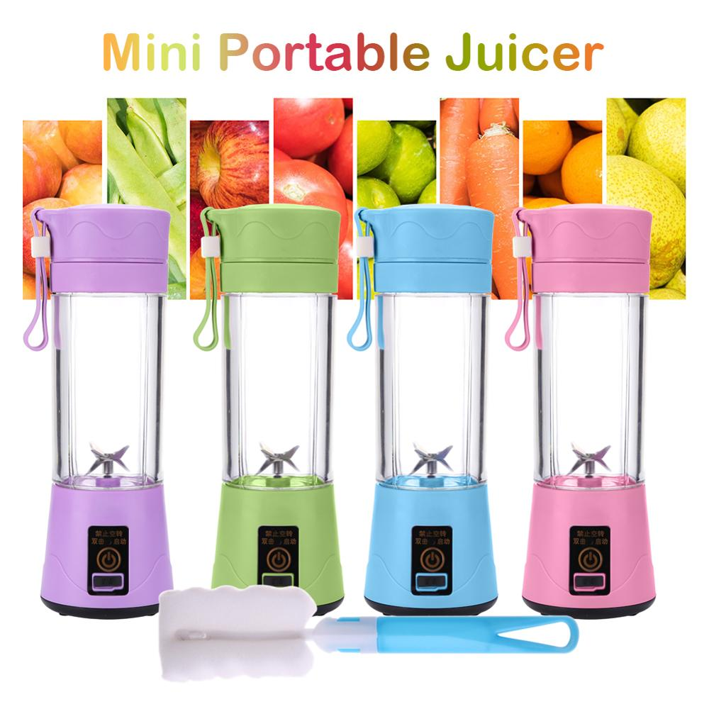 380ml Multifunction Portable Mini Juicer USB Rechargeable Blender Mixer Vegetables Juice Machine With Brush Household Juicer