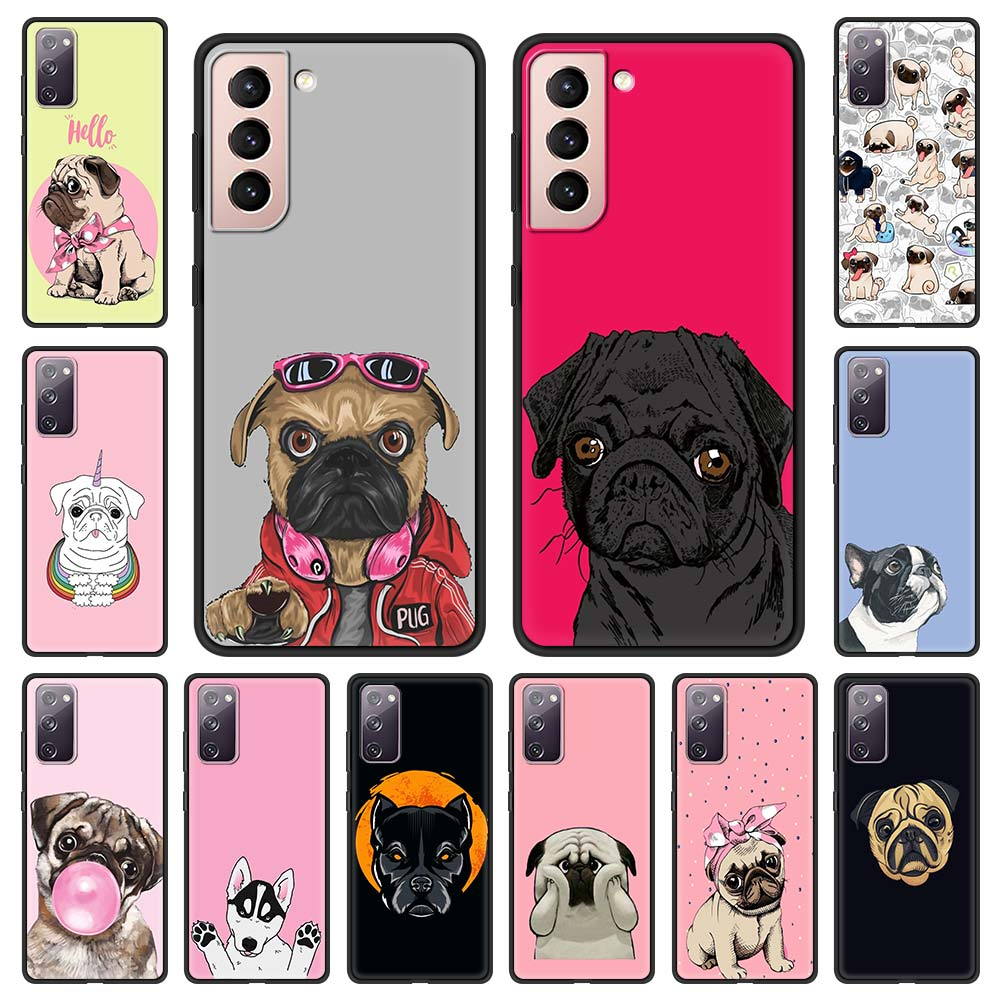Cute Pug Dog Anime Phone Case For Samsung Galaxy S20 FE S10 Plus S21 Ultra S8 S9 Plus S10e S7 Edge 5G Black Shell Cover