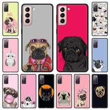 Funda de teléfono con diseño de perro Pug para Samsung Galaxy, carcasa negra con diseño de dibujos animados para Samsung Galaxy S20 FE S10 Plus S21 Ultra S8 S9 Plus S10e S7 Edge 5G