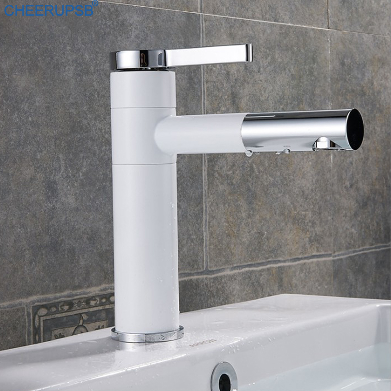 Bathroom Taps Deck Mounted Waterfall Faucet Single Handheld Mixer Tap Hot/&Cold
