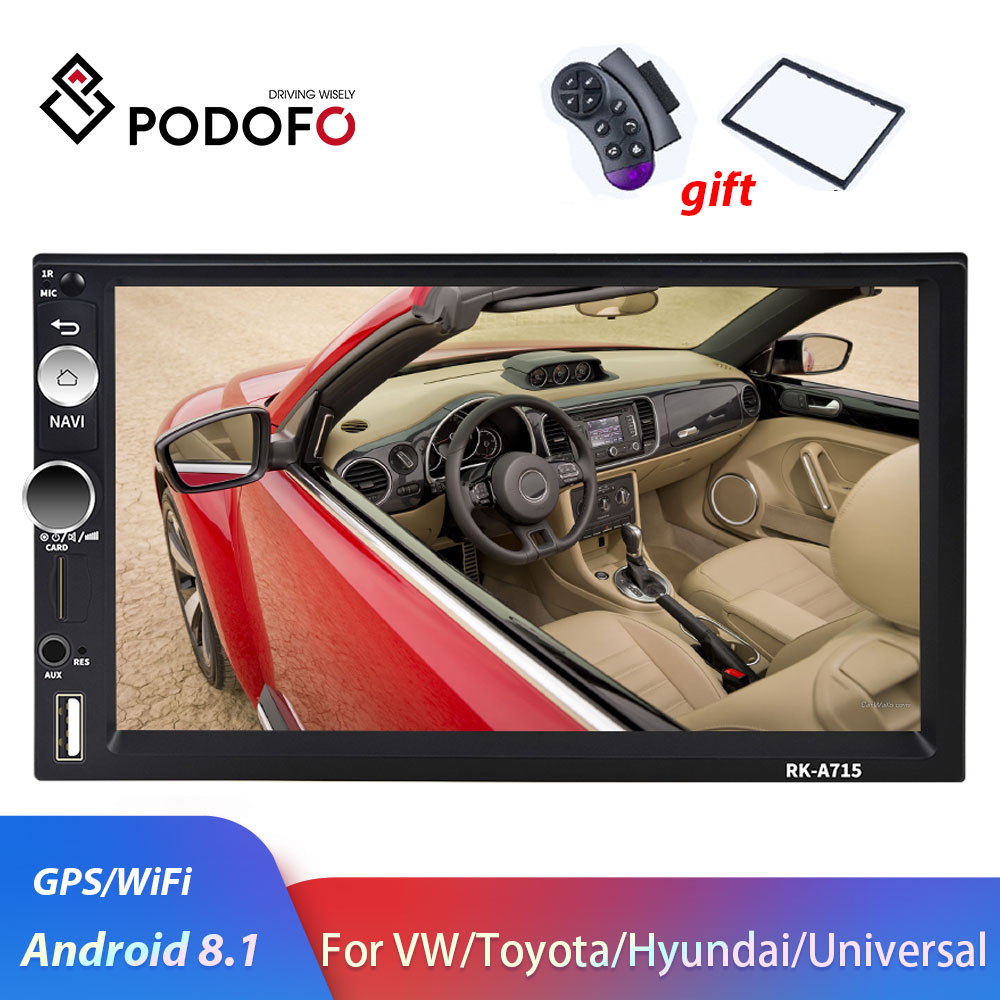 Podofo 2din Car Radio Android 2 din Car Multimedia Player <font><b>GPS</b></font> 2 DIN Audio stereo for Volkswagen Nissan Hyundai Kia Toyota Seat image
