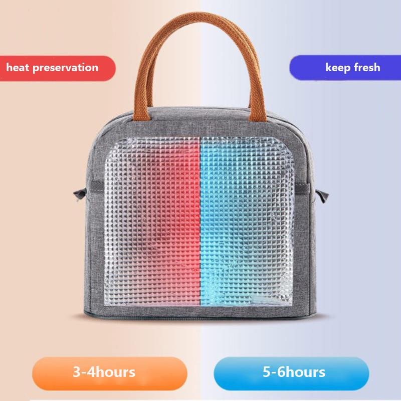 Portable Lunch Bag New Thermal Insulated Lunch Box Tote Cooler Handbag Bento Pouch Dinner Container School Food Storage Bags 4