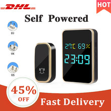 Digital Smart Wireless Doorbell Chime Ring Home Intelligent Temperature Humidity Time View Self-Powered Door Dell