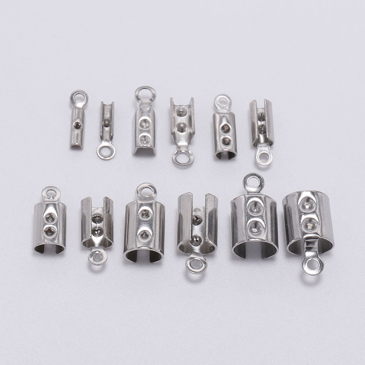 50pcs Stainless Steel Cords Crimp End Beads Caps Leather Clip Tip Fold Crimp Bead Bracelet Connectors For Jewelry Making Finding