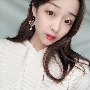 Hand Made Mori Girls China Beads Vintage Purple Shell Round Earrings Cute Bird Cubic Zircon Drop Earrings for Women