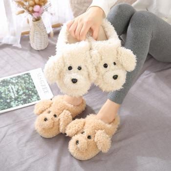 2019 New Autumn Winter Women Slippers cute cartoon puppy teddy wool cotton Home Soft anti-slip Fur Indoor Floor women Men Shoes