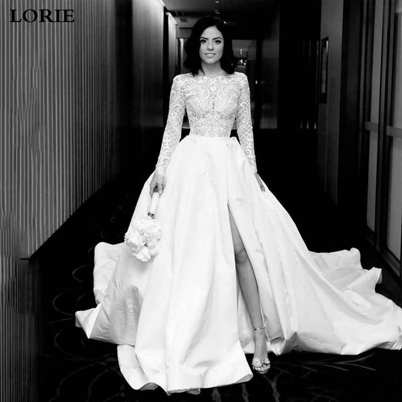 LORIE Satin Wedding Dress  Full Sleeve Top Lace Princess Bride Dress Sexy Side Split Boho Backless Long  Vestido De Novia 2019