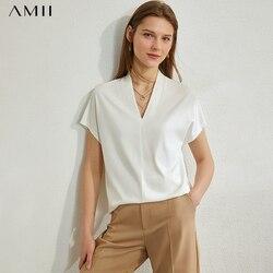 AMII минимализм весна лето шифоновая однотонная Свободная Женская блузка с v-образным вырезом повседневная женская блузка с короткими рукава...