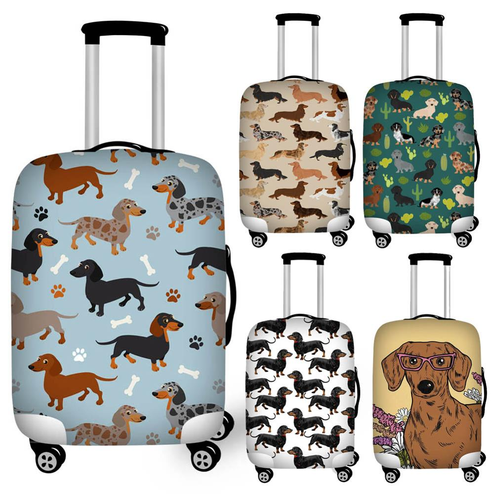 Dachshunds On Turquoise Floral Travel Luggage Cover Suitcase Protector Washable Zipper Baggage Cover